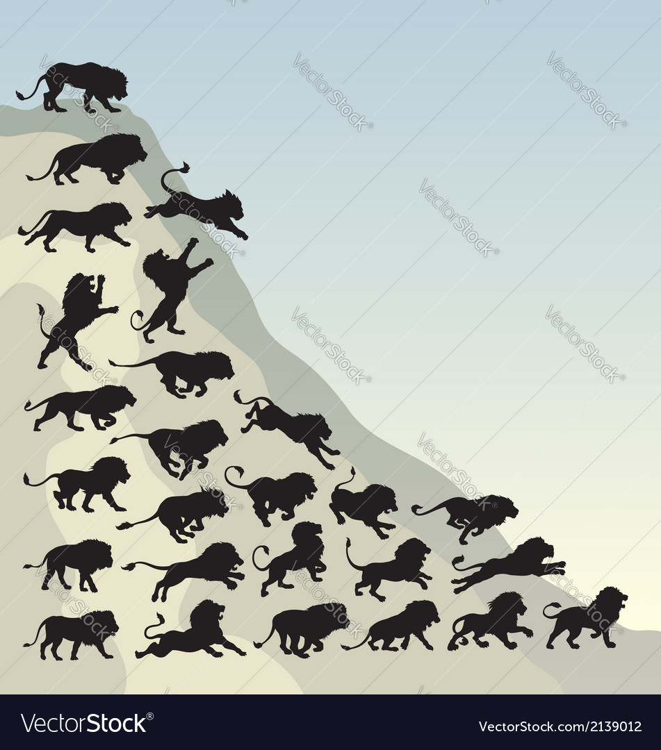 Running lion silhouettes vector