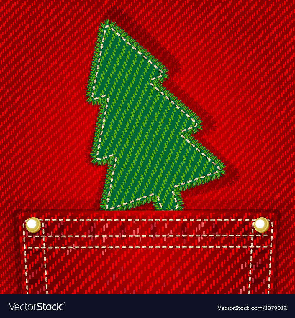 Textile christmas tree in jeans pocket vector | Price: 1 Credit (USD $1)
