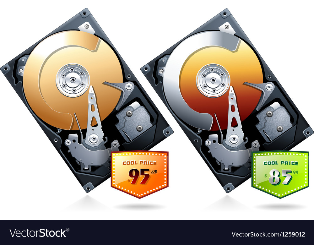 Two hard disk drive hdd with price badge vector | Price: 5 Credit (USD $5)