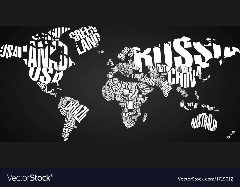World map in typography vector | Price: 1 Credit (USD $1)
