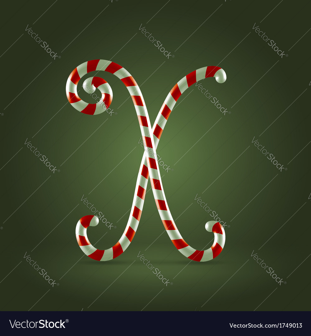 Candy cane abc x vector | Price:  Credit (USD $)