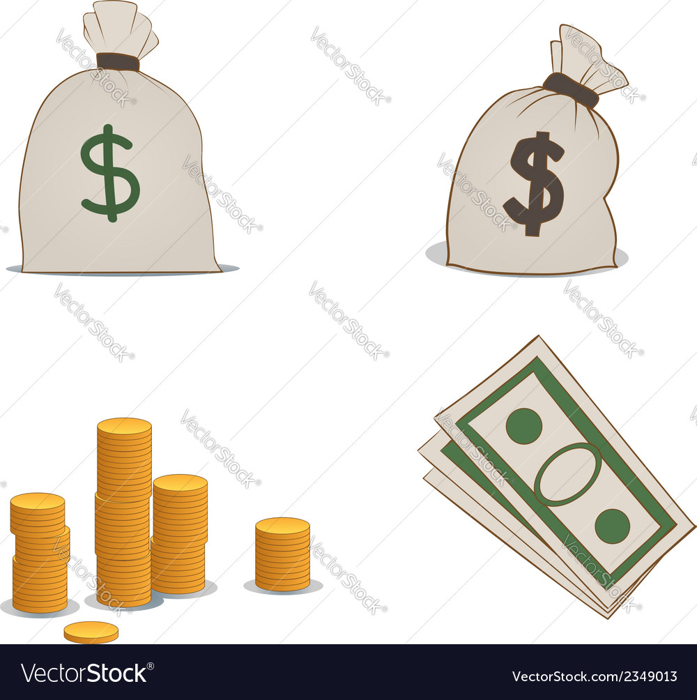 Coins moneybags and greenbacks vector | Price: 1 Credit (USD $1)