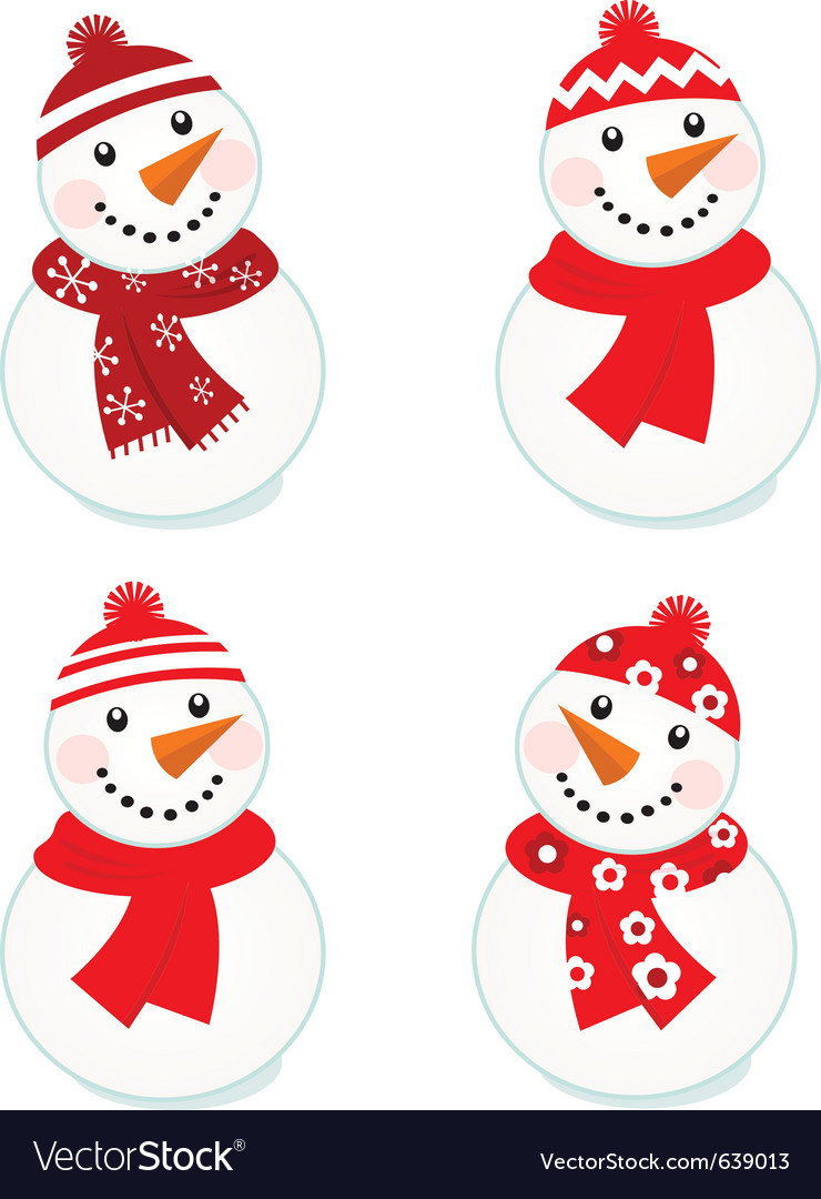 Cute snowmen collection vector | Price: 1 Credit (USD $1)