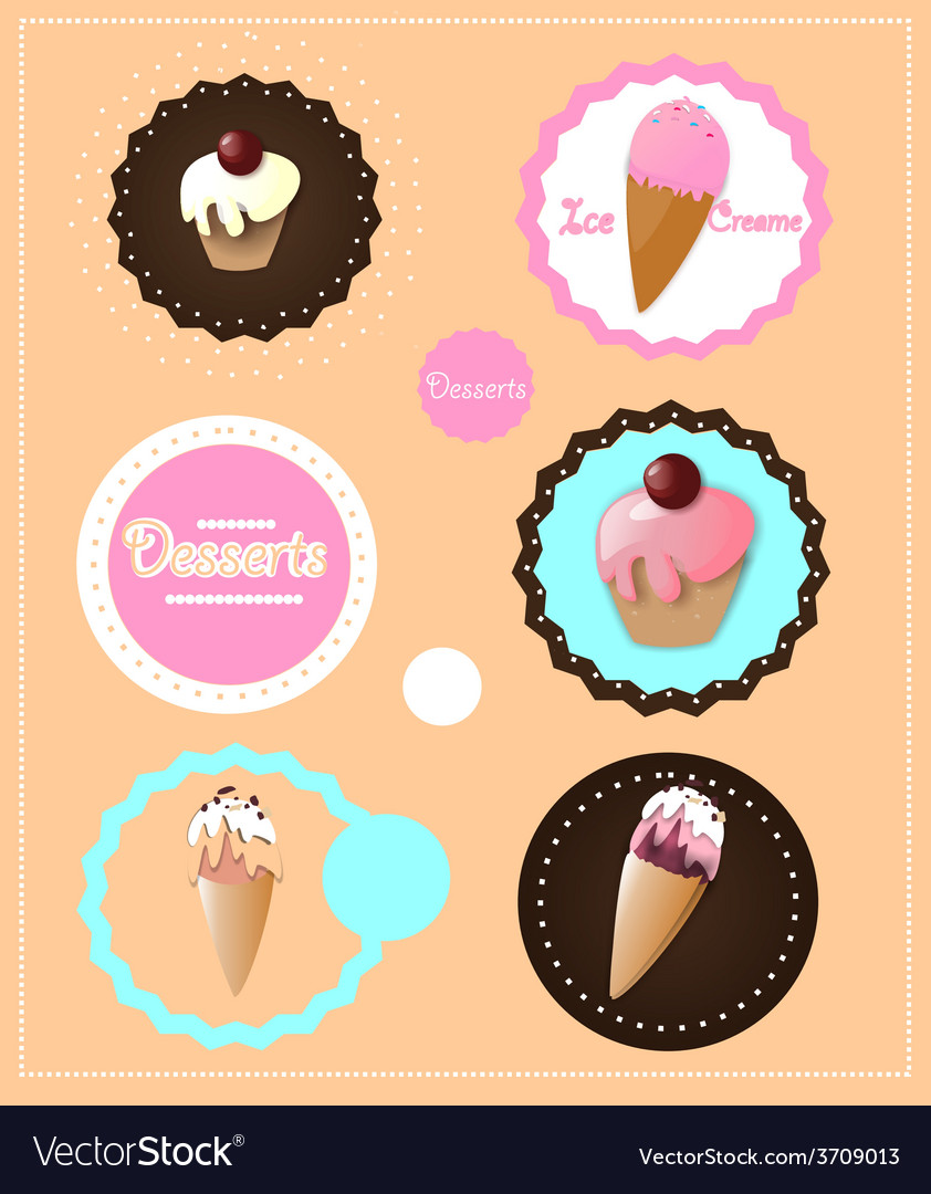 Desserts icons vector | Price: 1 Credit (USD $1)