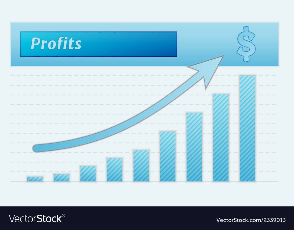 Graph with growing profits vector | Price: 1 Credit (USD $1)