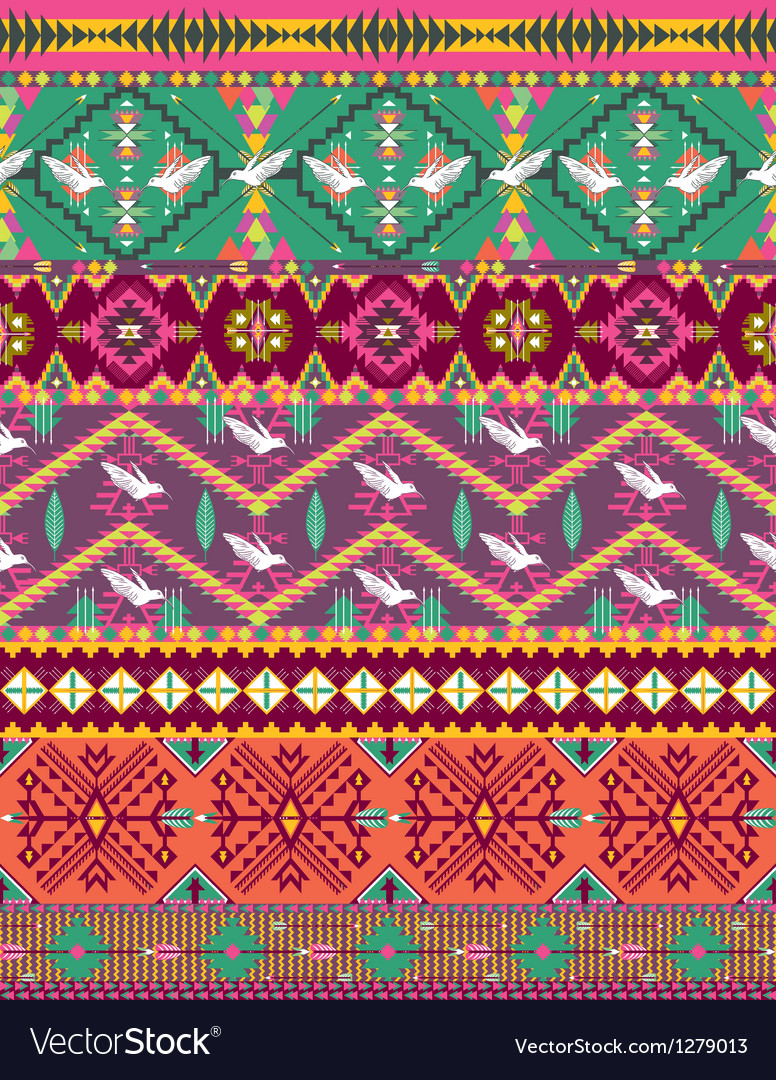 Seamless colorful aztec pattern with birds vector | Price: 1 Credit (USD $1)