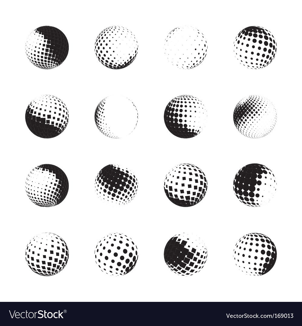 Set of halftone spheres vector | Price: 1 Credit (USD $1)
