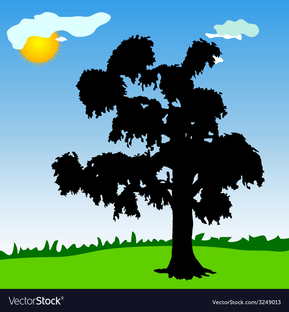 Tree black silhouette in the park vector | Price: 1 Credit (USD $1)