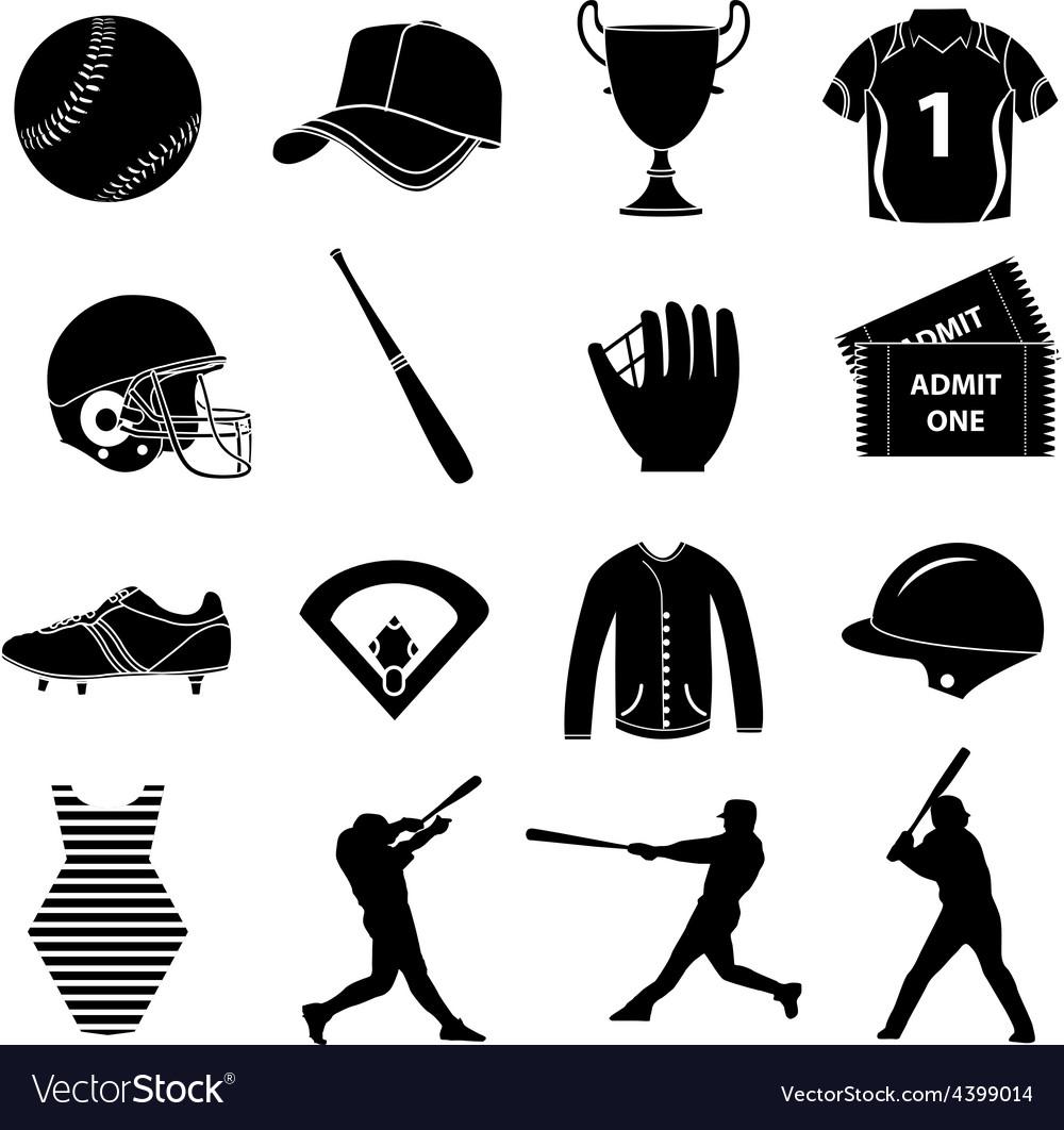 Baseball icons set vector | Price: 1 Credit (USD $1)