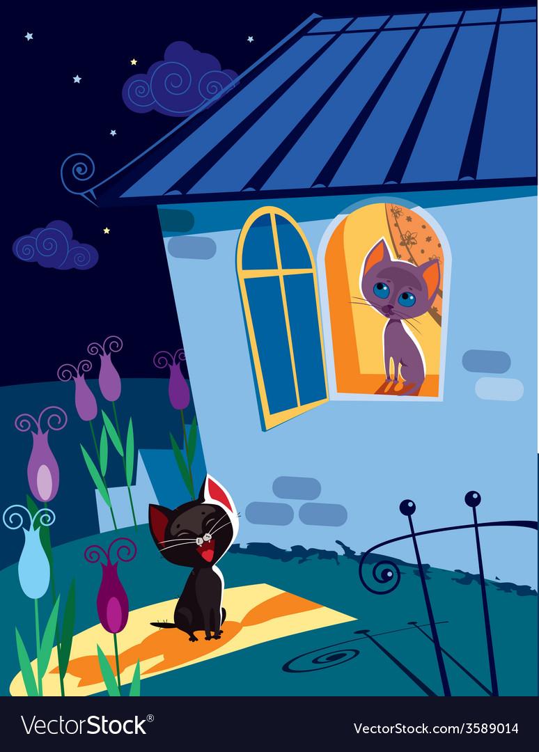 Cats serenade at night vector | Price: 5 Credit (USD $5)