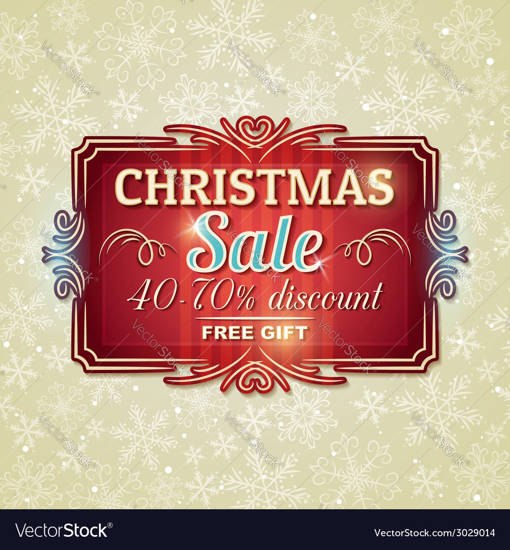 Christmas background and label with sale offer vector | Price: 1 Credit (USD $1)