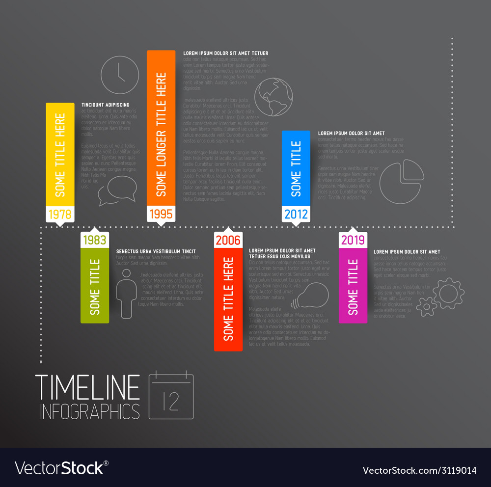 Dark horizontal infographic timeline report vector | Price: 1 Credit (USD $1)