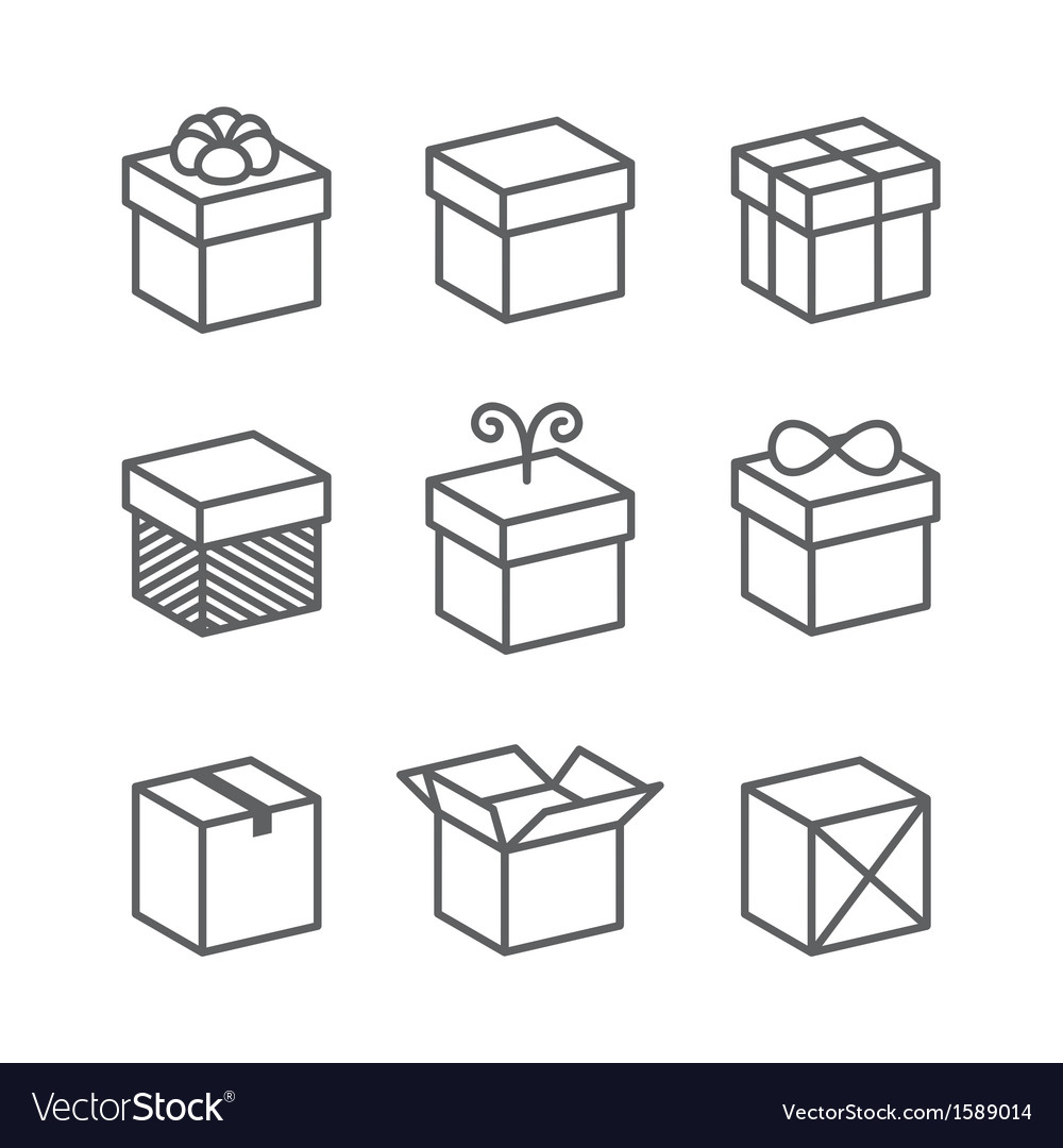 Gift box icons holiday presents vector | Price: 1 Credit (USD $1)