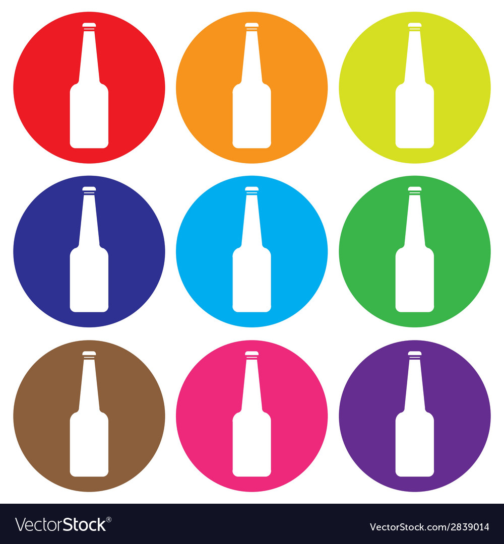 Glass bottle icon set vector | Price: 1 Credit (USD $1)
