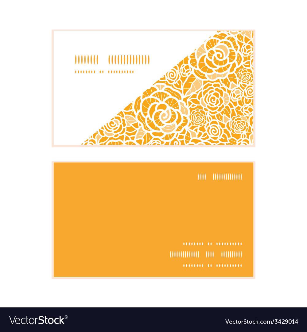 Golden lace roses horizontal corner frame pattern vector | Price: 1 Credit (USD $1)