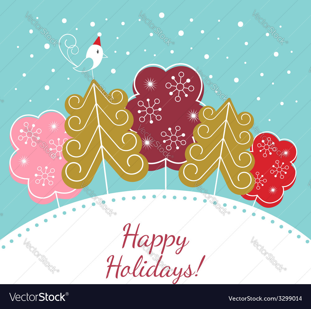 Happy holidays christmas card vector | Price:  Credit (USD $)