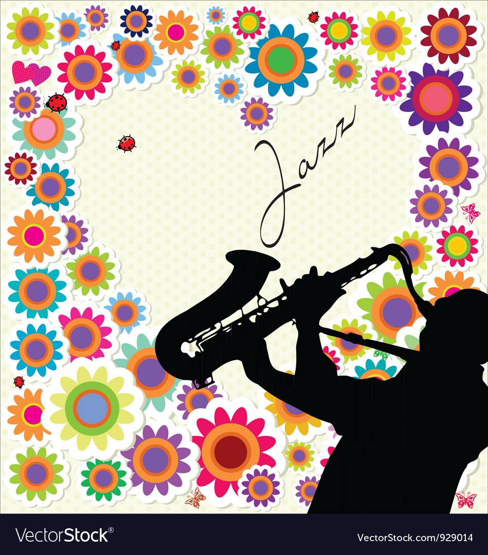 Jazz and flower background vector | Price: 1 Credit (USD $1)