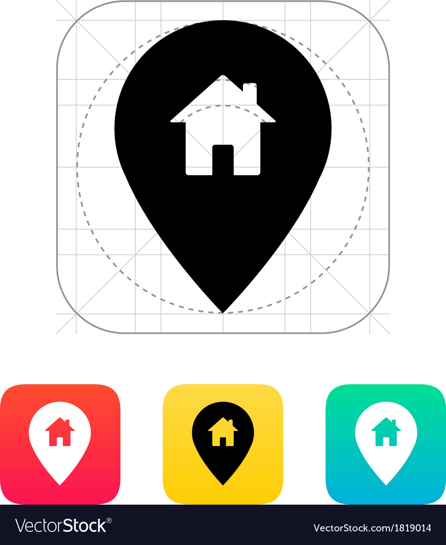 Map pin with home icon vector | Price: 1 Credit (USD $1)