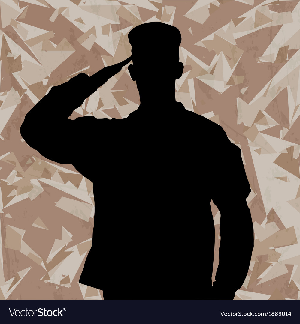 Saluting soldier on a desert army background vector | Price: 1 Credit (USD $1)
