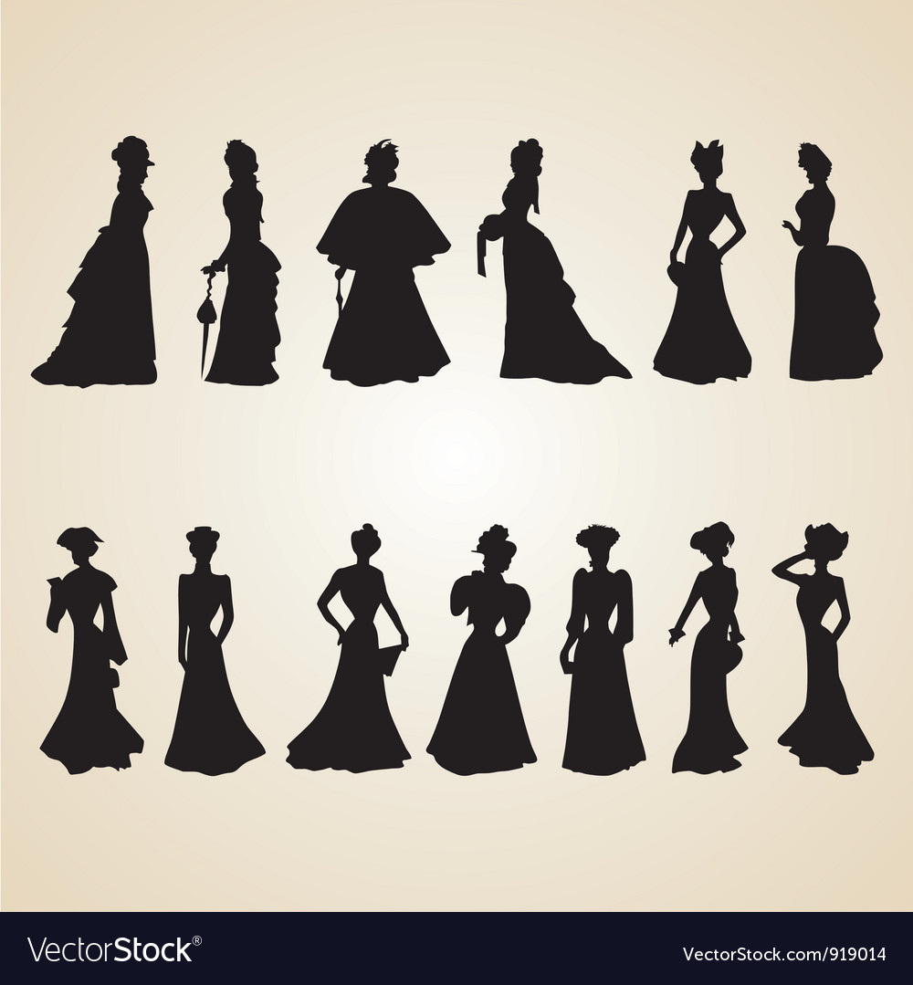 Victorian women silhouettes vector | Price: 1 Credit (USD $1)
