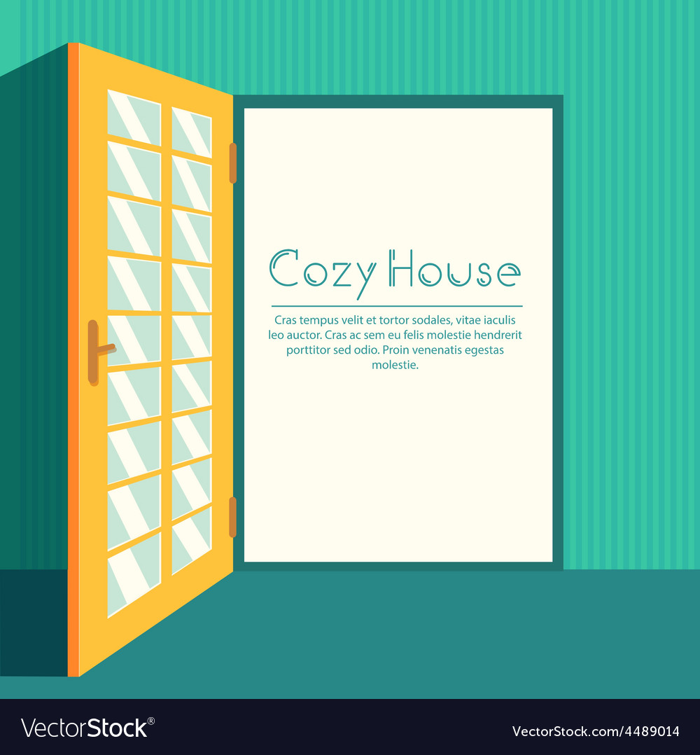 Vintage living colorful open door on house vector | Price: 1 Credit (USD $1)