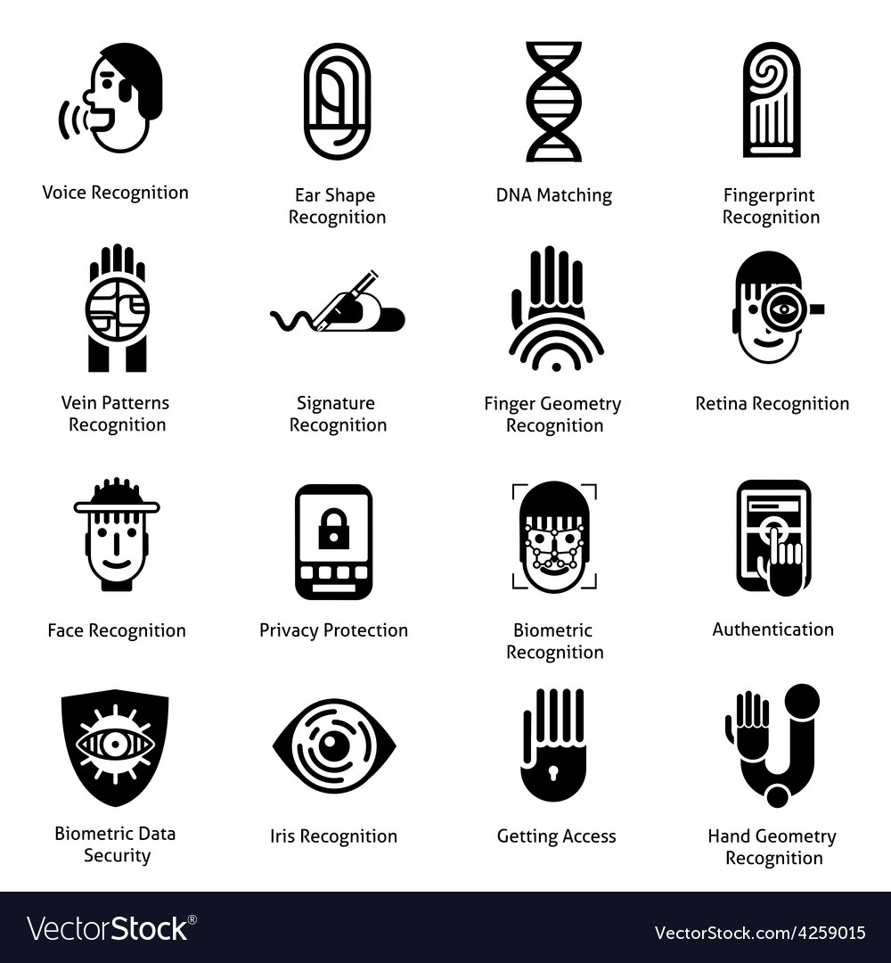 Biometric authentication icons black vector | Price: 1 Credit (USD $1)