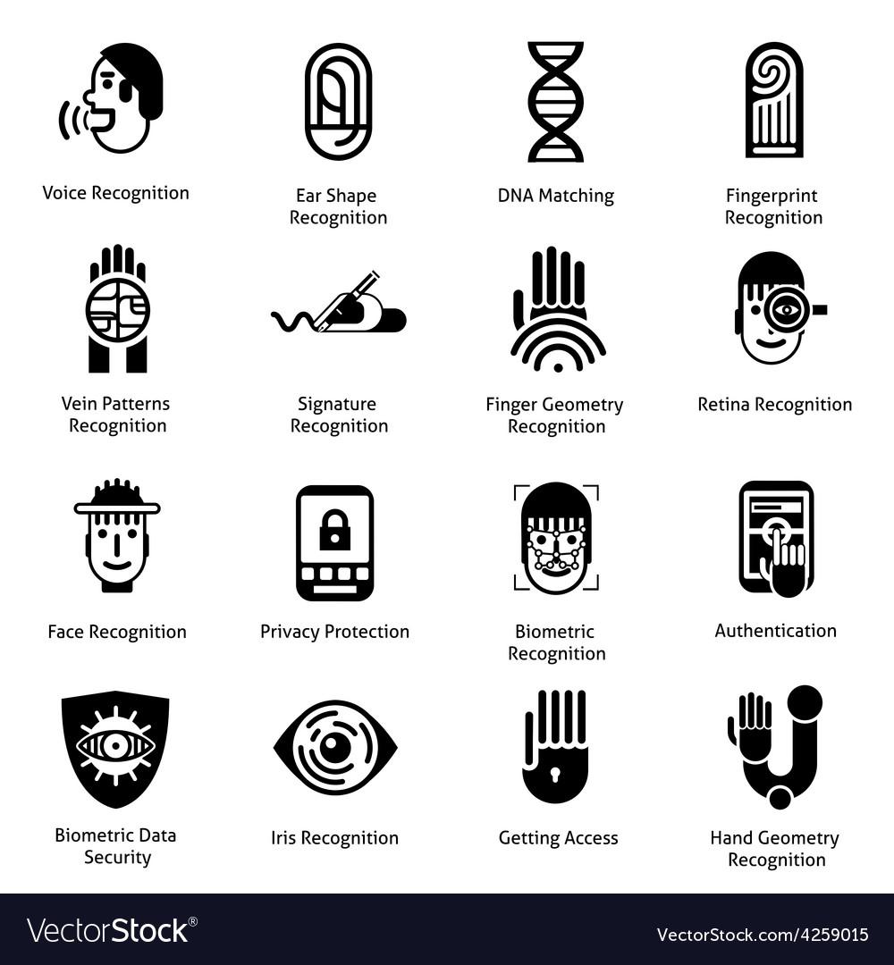 Biometric authentication icons black vector | Price: 1 Credit (USD $1)