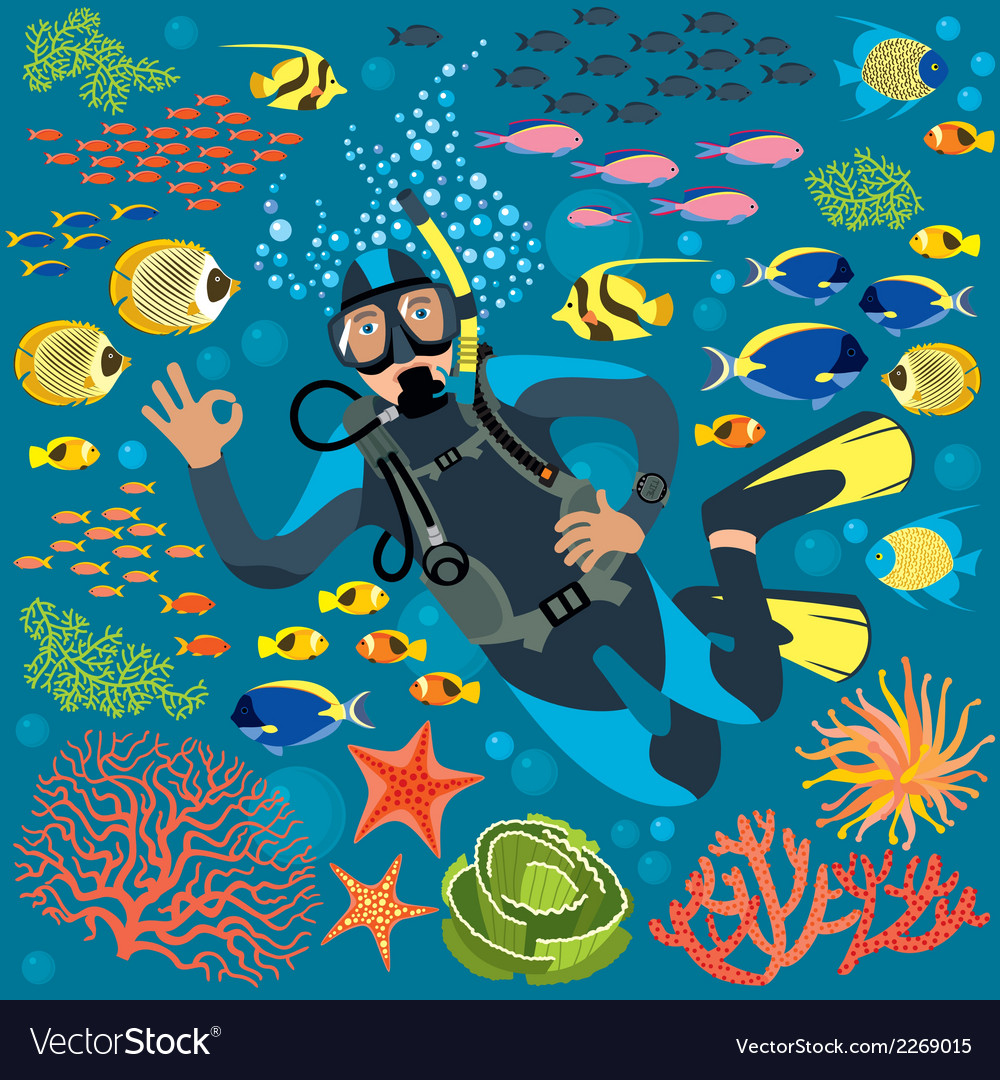 Diver with underwater plants and fishes set vector   Price: 1 Credit (USD $1)