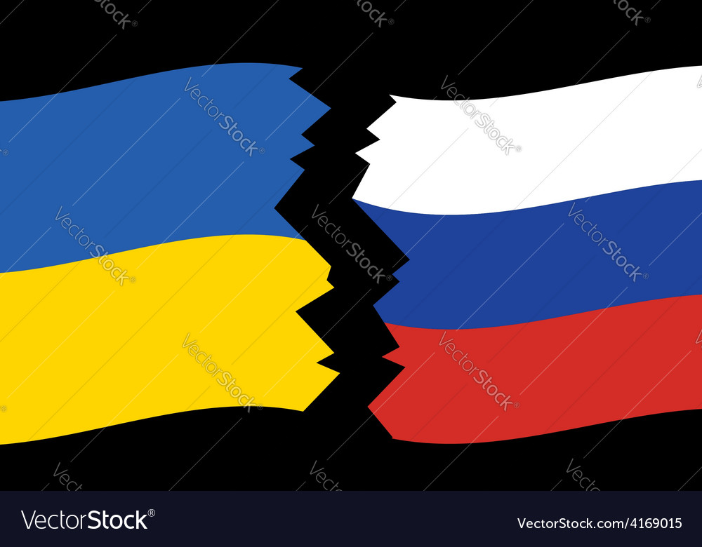 Flags of ukraine and russia - crack vector | Price: 1 Credit (USD $1)