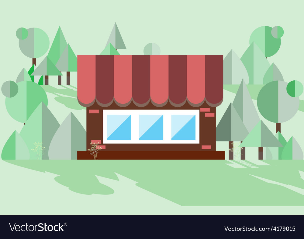 Kormichny house on a green background vector | Price: 1 Credit (USD $1)