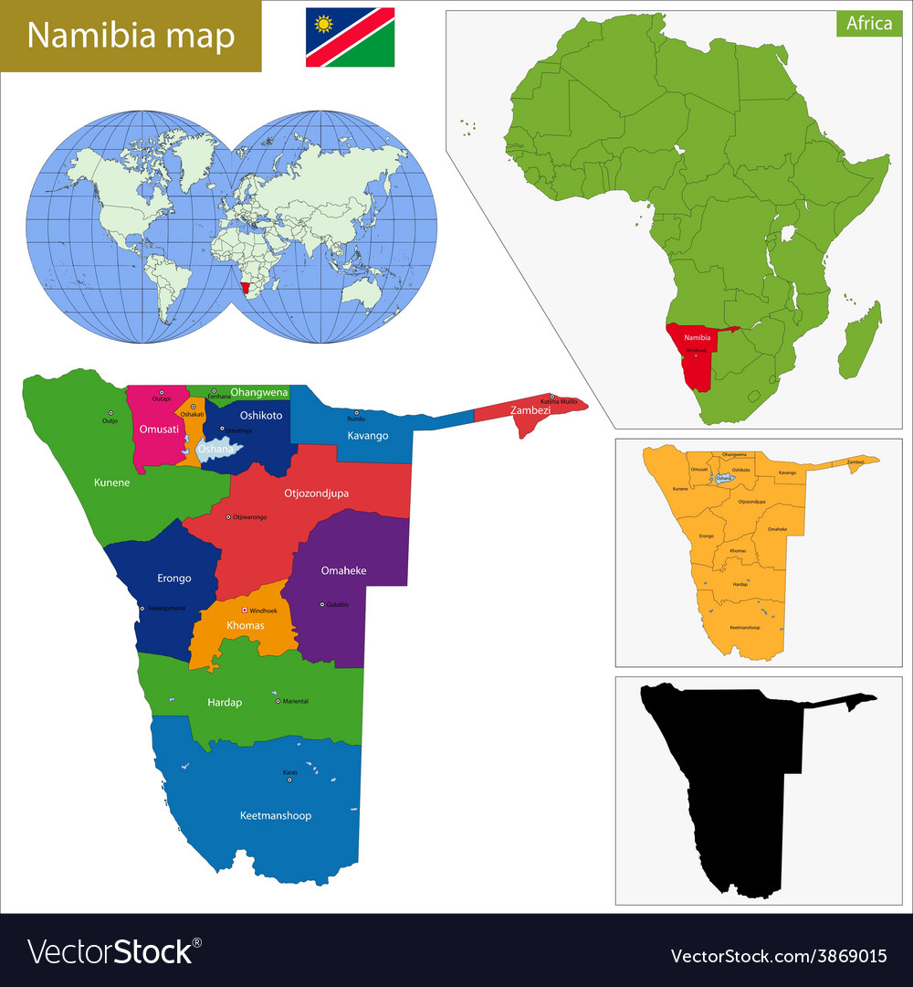 Namibia map vector | Price: 1 Credit (USD $1)