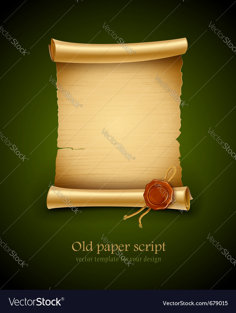 Old paper script with stamp vector | Price: 3 Credit (USD $3)