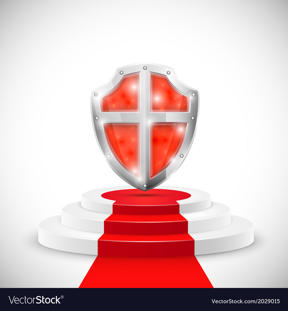 Red glossy shield on pedestal vector | Price: 1 Credit (USD $1)