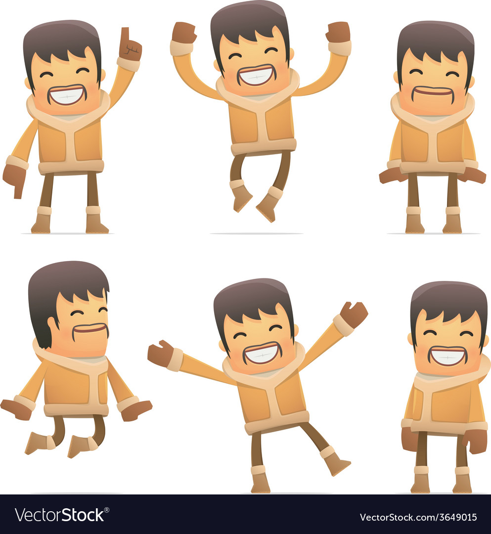 Set of eskimo character in different poses vector | Price: 3 Credit (USD $3)