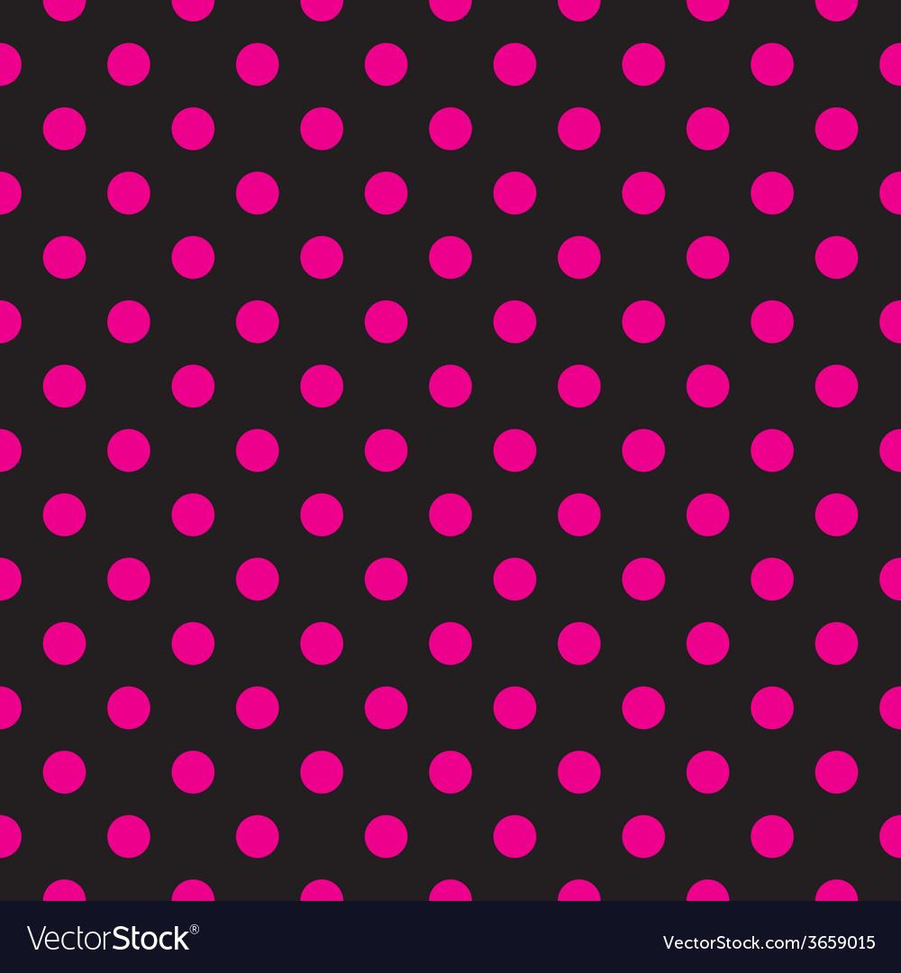 Tile pink polka dots on black background vector | Price: 1 Credit (USD $1)
