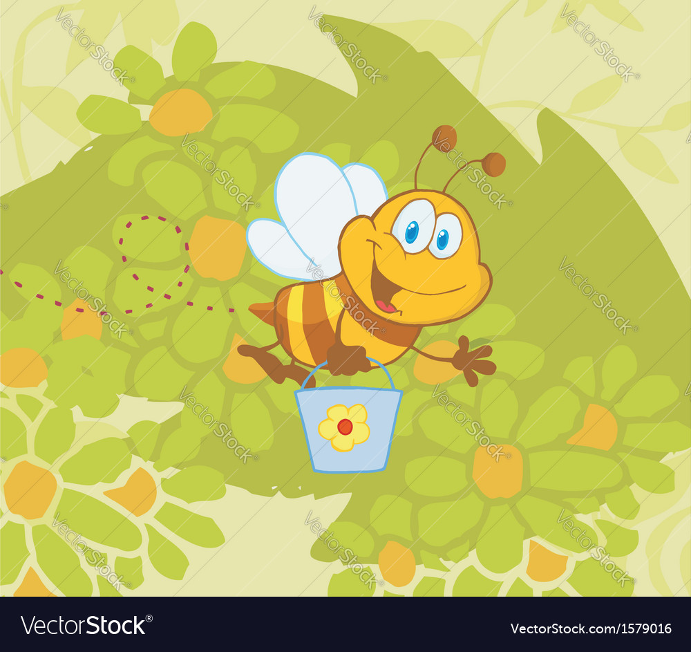 Cartoon bee gathering honey vector | Price: 1 Credit (USD $1)