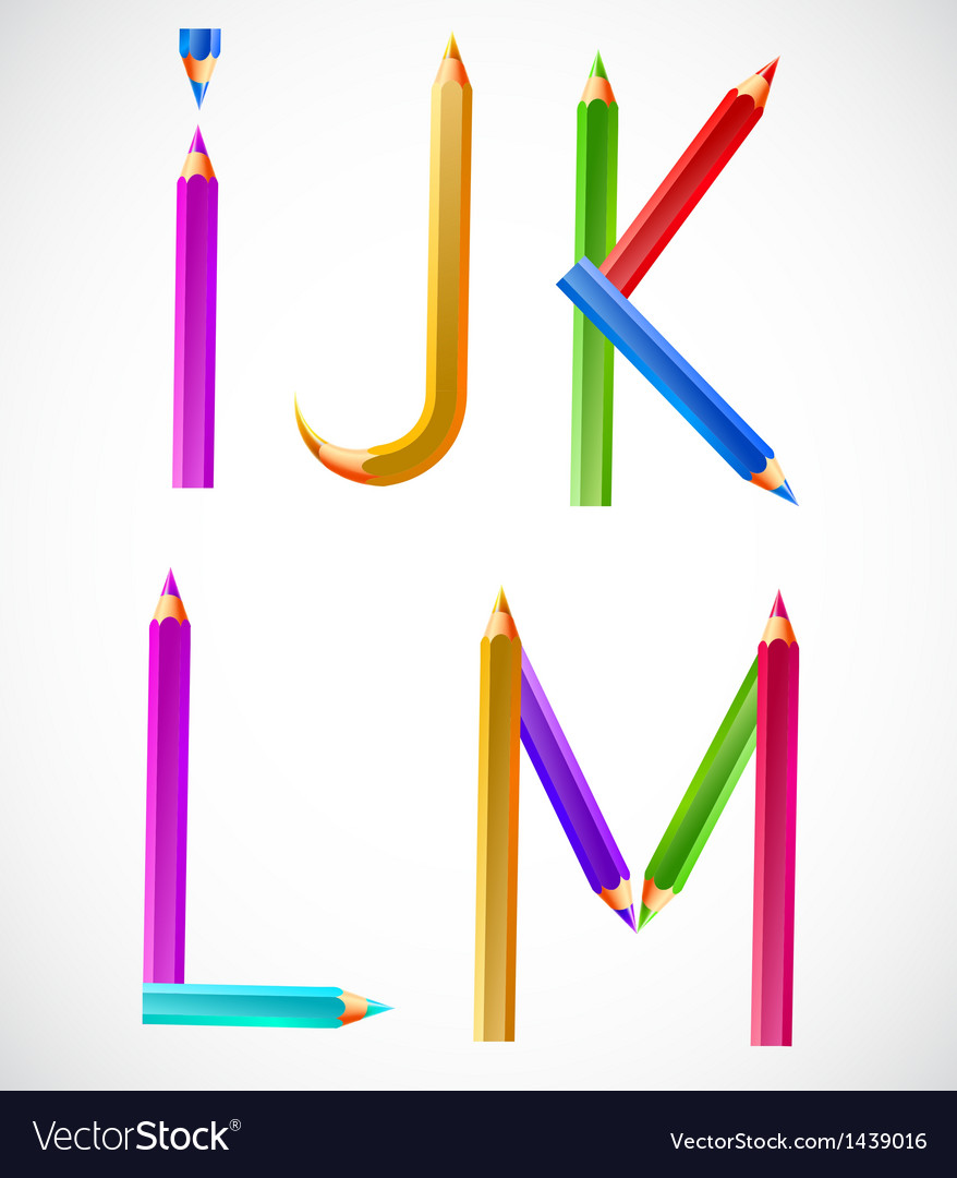 Colorful alphabet of pencils i j k l m vector | Price: 1 Credit (USD $1)