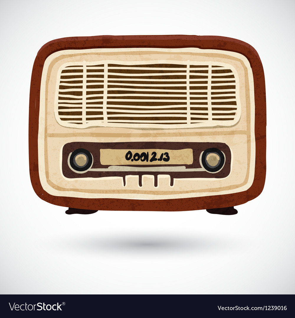 Grunge vintage wooden radio vector | Price: 1 Credit (USD $1)