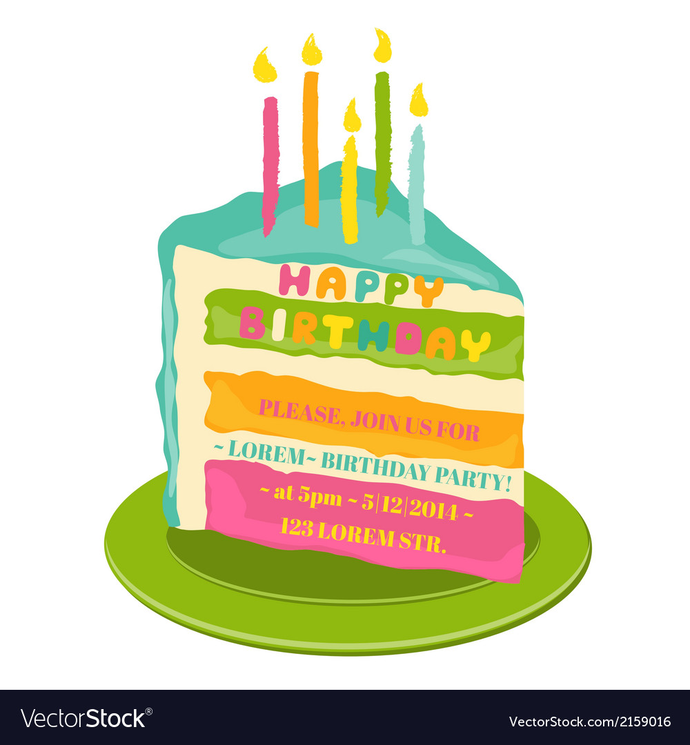 Happy birthday and party invitation card vector | Price: 1 Credit (USD $1)