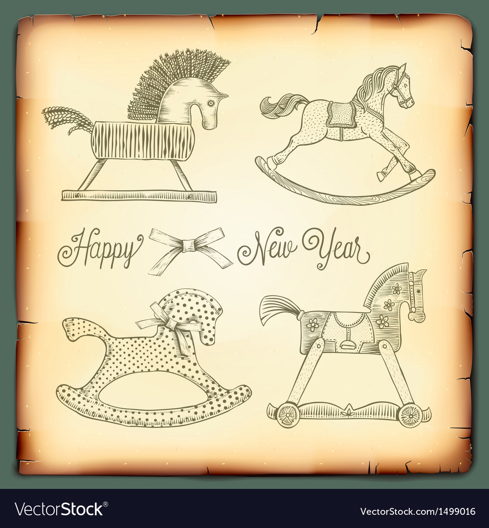 New year vintage card with rocking toys horses vector | Price: 1 Credit (USD $1)