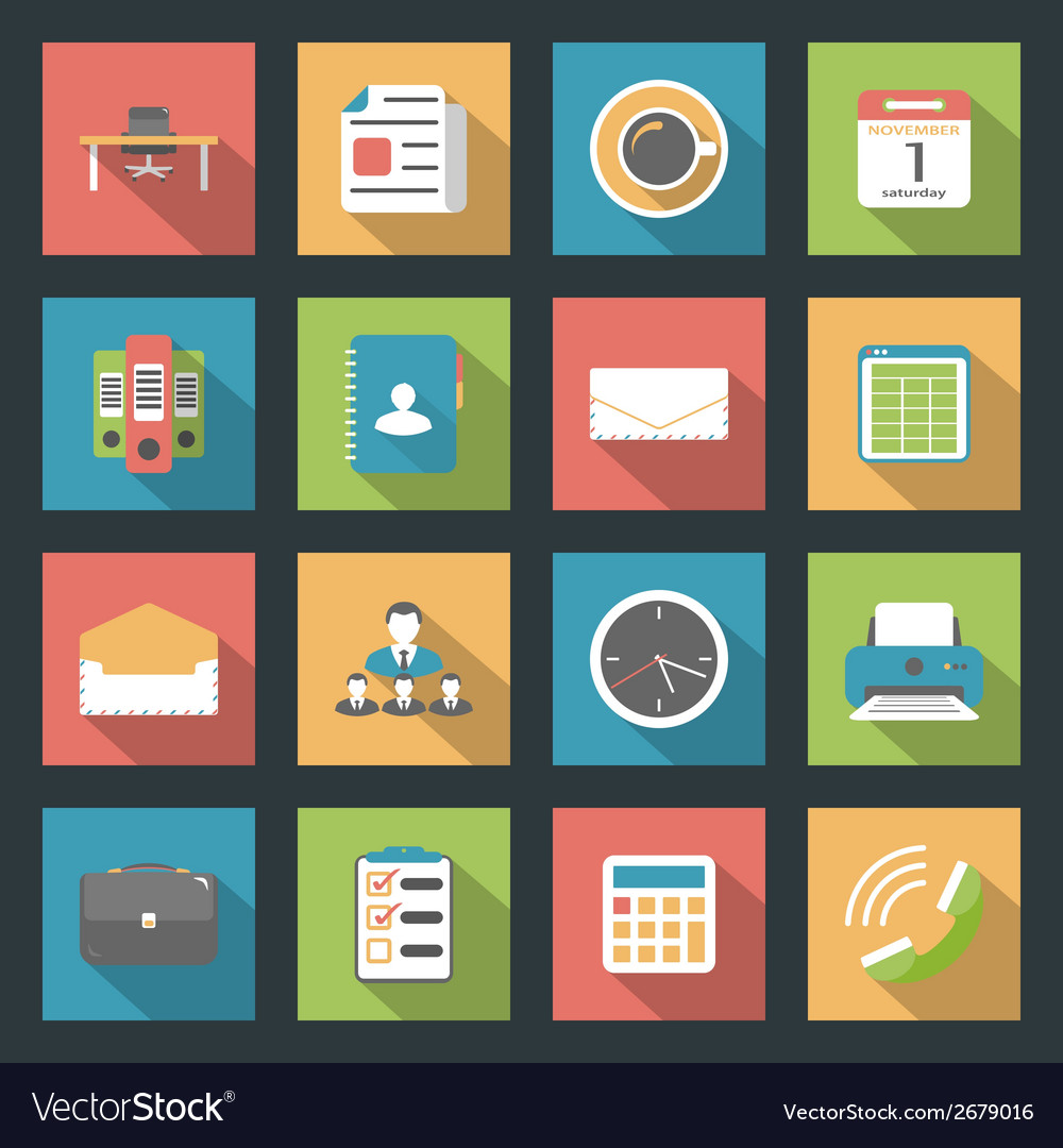 Office flat icons set vector | Price: 1 Credit (USD $1)