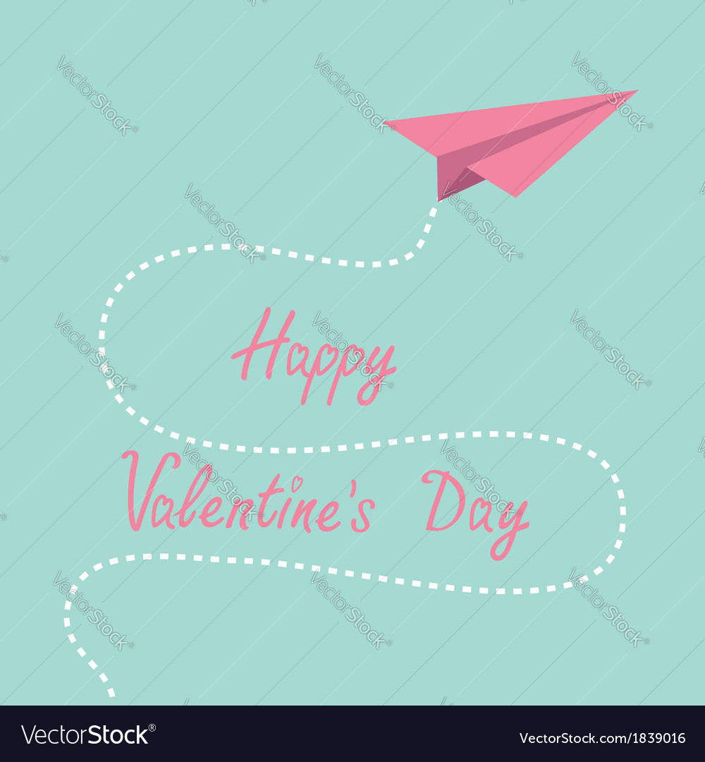Origami pink paper plane dash line valentines day vector | Price: 1 Credit (USD $1)