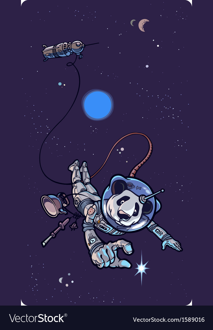 Panda the astronaut vector | Price: 3 Credit (USD $3)