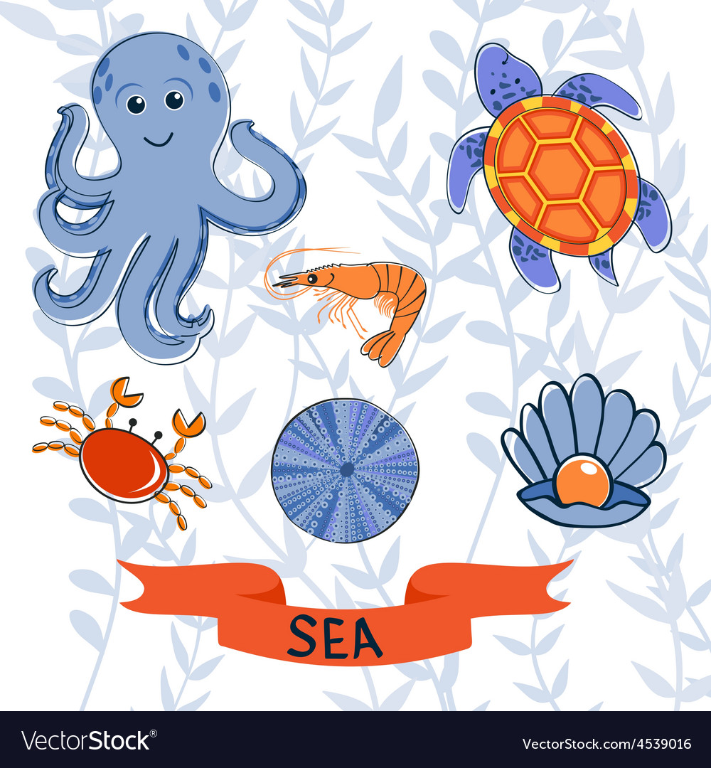 Sea creatures colorful collection vector | Price: 1 Credit (USD $1)