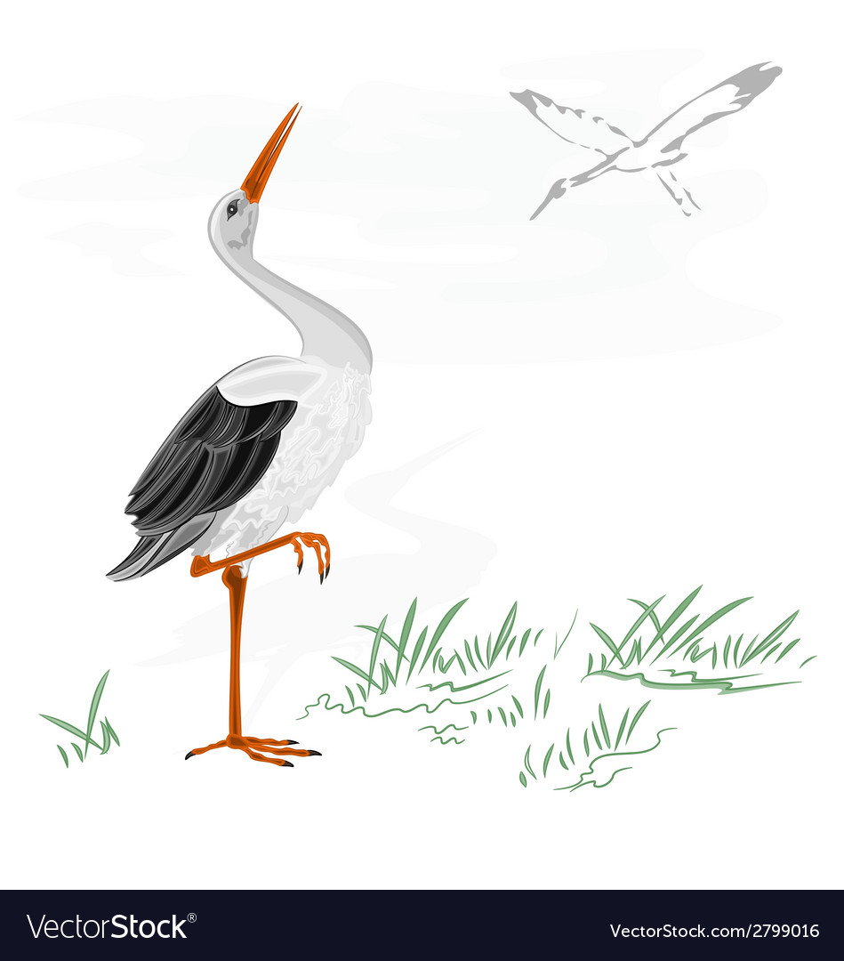 Storks and nest on a chimney vector | Price: 1 Credit (USD $1)