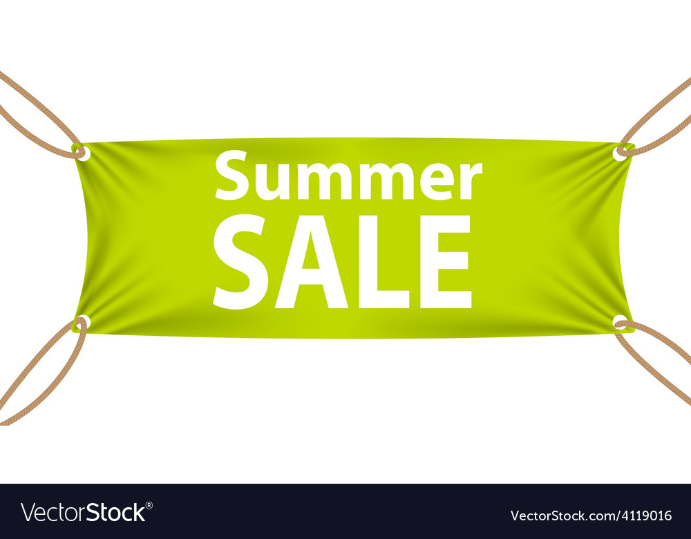 Textile banners with sale text suspended by ropes vector | Price: 1 Credit (USD $1)