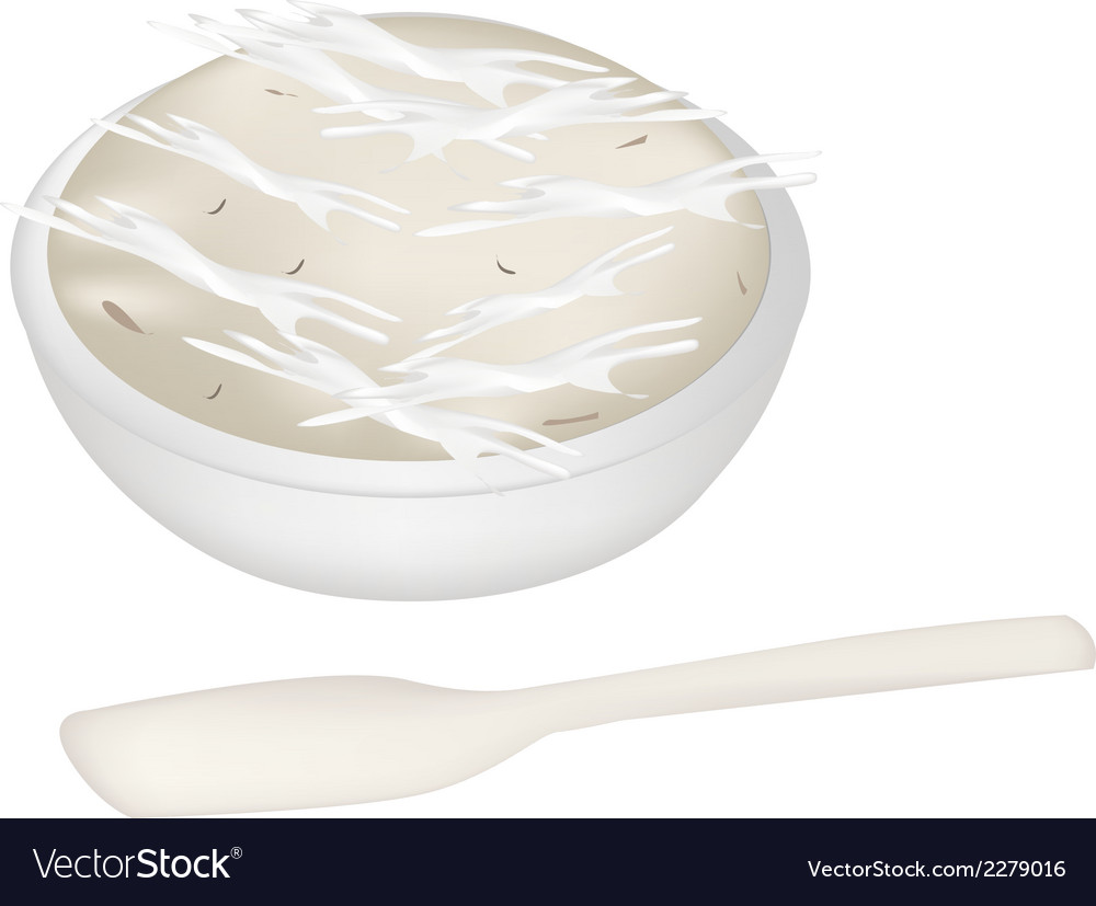 Thai dessert of banana pudding with a spoon vector | Price: 1 Credit (USD $1)