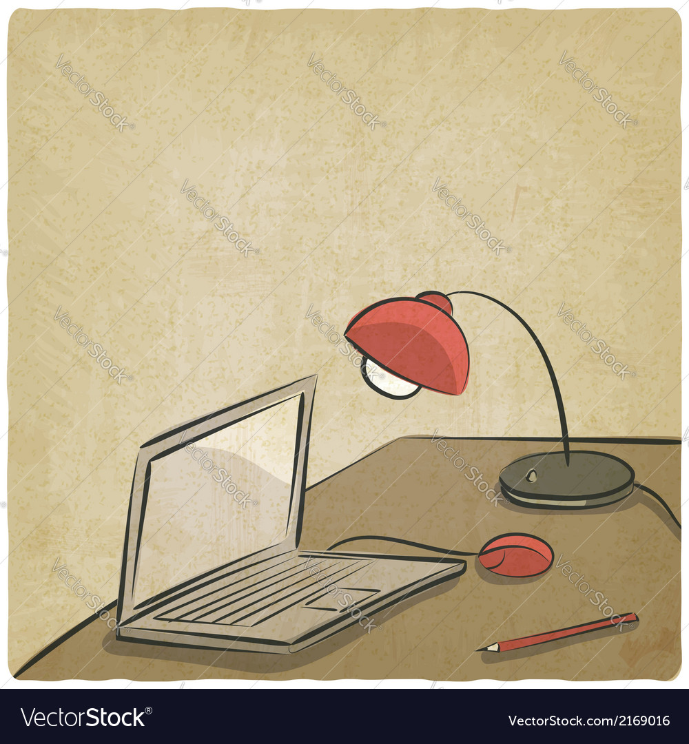 Workplace laptop lamp old background vector | Price: 1 Credit (USD $1)