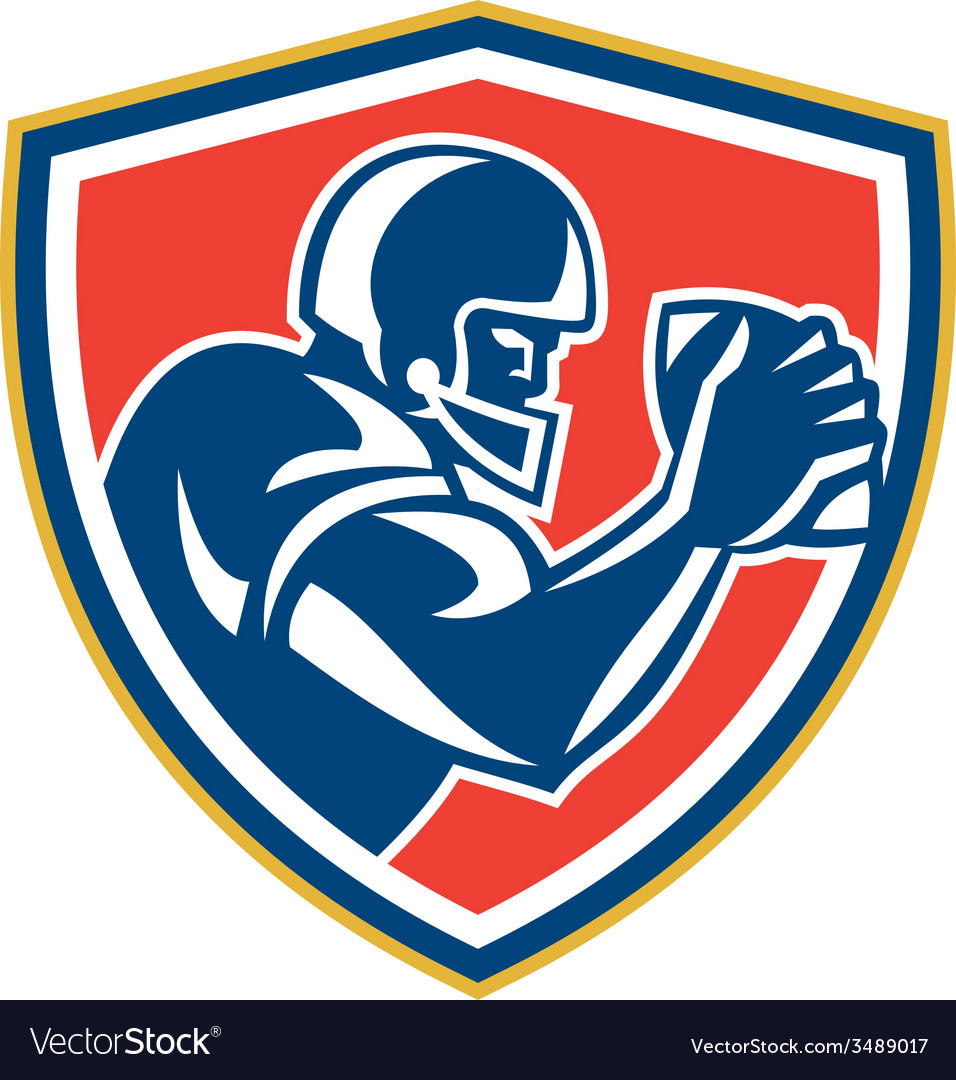 American football player ball side shield vector | Price: 3 Credit (USD $3)