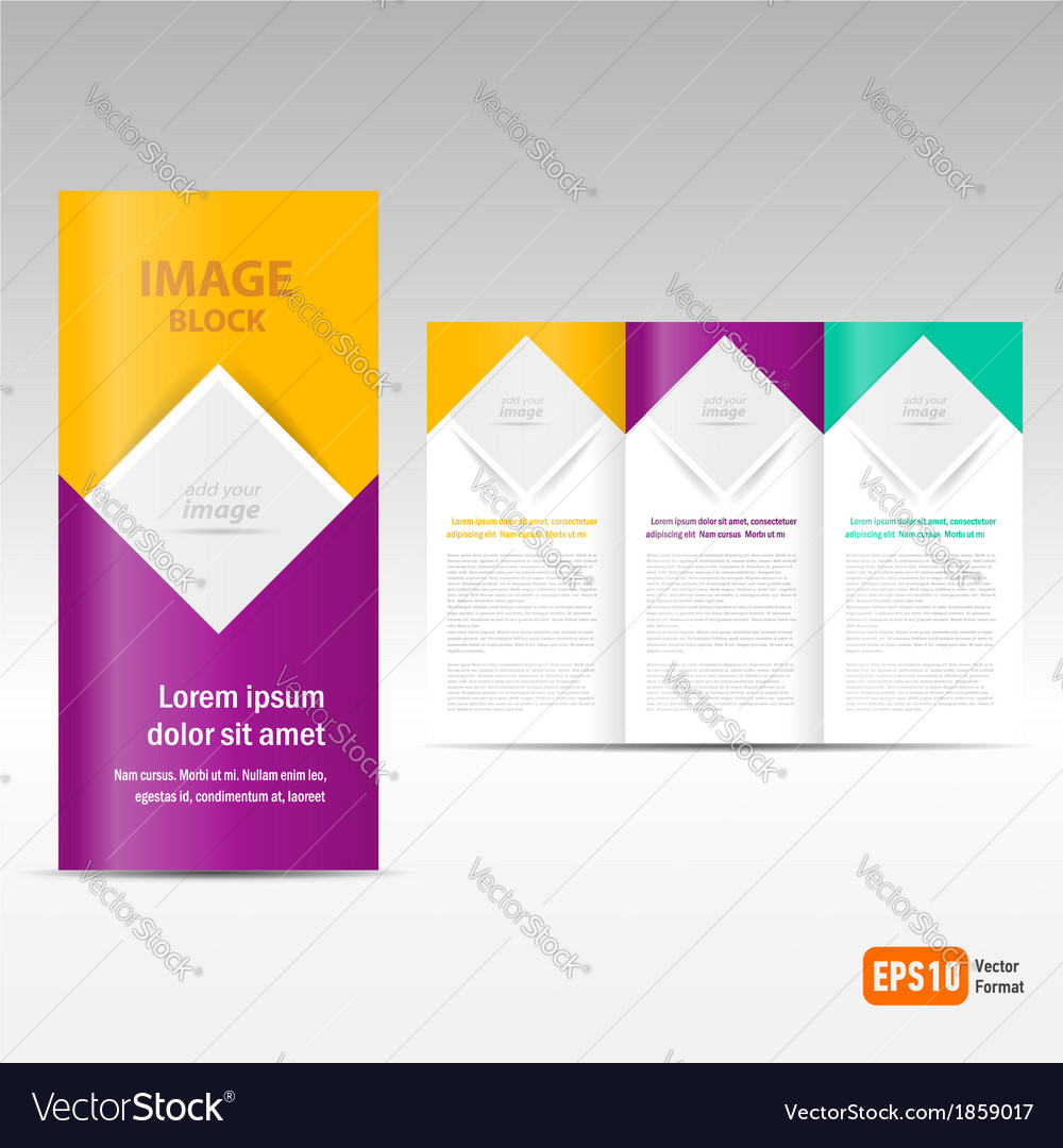 Brochure tri-fold design template block for images vector | Price: 1 Credit (USD $1)